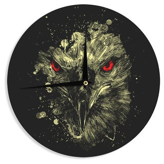 KESS InHouseBarmalisiRTB 'Eagle' Black Yellow Wall Clock