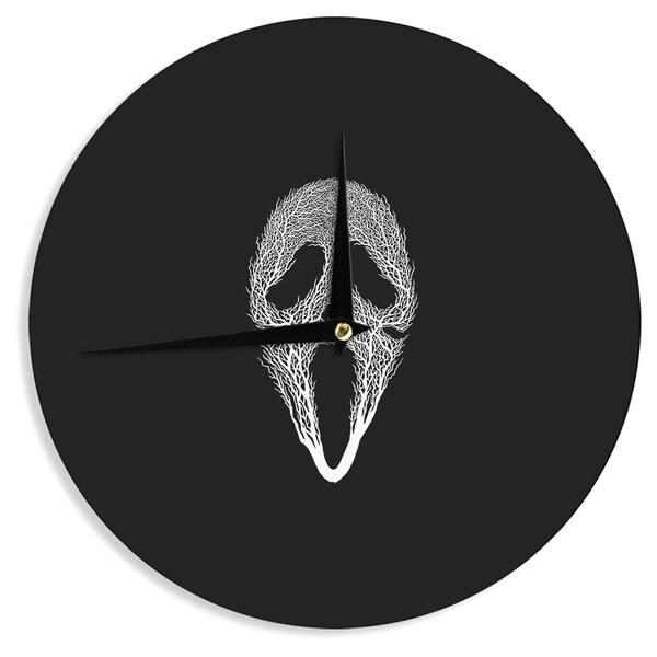 KESS InHouseBarmalisiRTB 'The Scream Tree' Black White Wall Clock