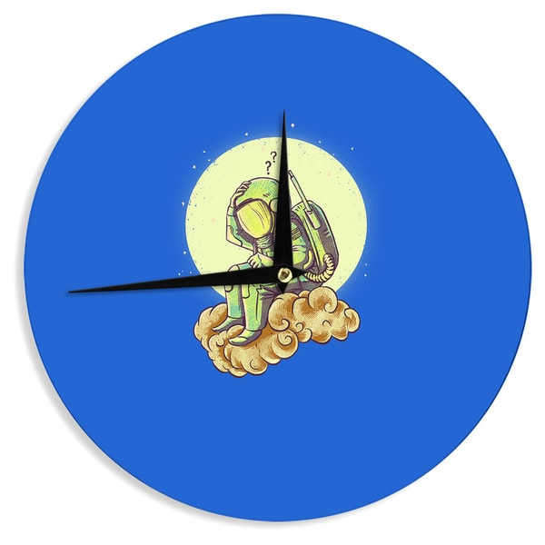 KESS InHouseBarmalisiRTB 'Why in the Cloud' Blue Yellow Wall Clock