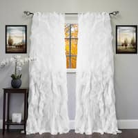 """Sheer Voile Ruffled Tier Window Curtain Panel 84"""" in White (As Is Item)"""