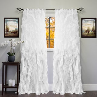 "Sheer Voile Ruffled Tier Window Curtain Panel 84"" in White (As Is Item)"