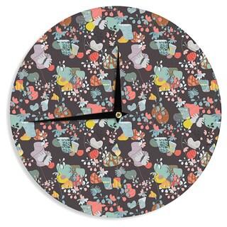 KESS InHouseAkwaflorell 'At Home' Black Multicolor Wall Clock