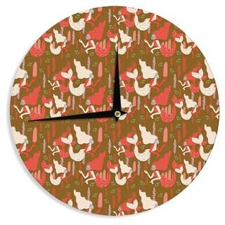 KESS InHouseAkwaflorell 'Mermaids' Brown Red Wall Clock