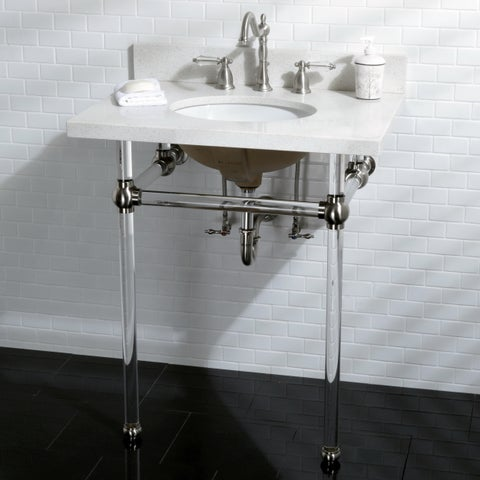 White Quartz 30-inch Wall-mount Pedestal Bathroom Sink Vanity with Acrylyic Stand