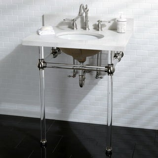 White Quartz 30 Inch Wall Mount Pedestal Bathroom Sink Vanity With Acrylyic  Stand