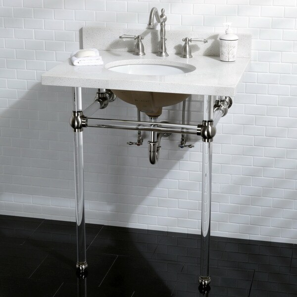 Shop white quartz 30 inch wall mount pedestal bathroom - 30 inch white bathroom vanity with sink ...