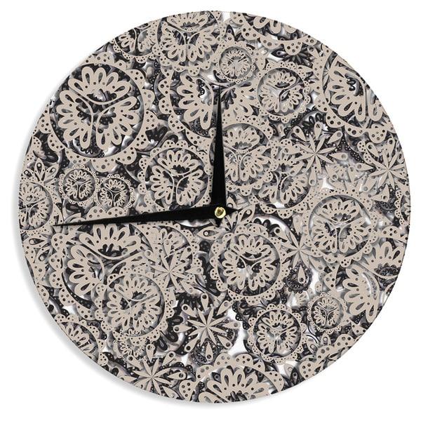 KESS InHouseAkwaflorell 'Snowflakes' Brown Geometric Wall Clock