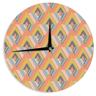 KESS InHouseAkwaflorell 'So Cool' Orange Yellow Wall Clock