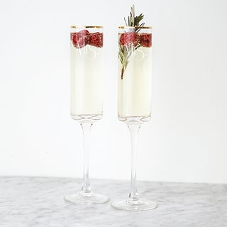 Mrs. & Mrs. 8 oz. Gatsby Gold Rim Contemporary Champagne Flutes