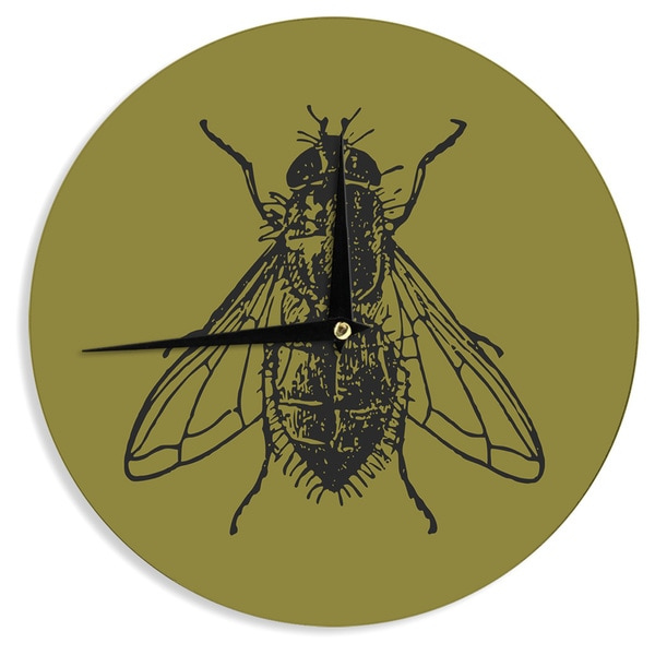 KESS InHouseAlias 'Too Fly' Green Black Wall Clock