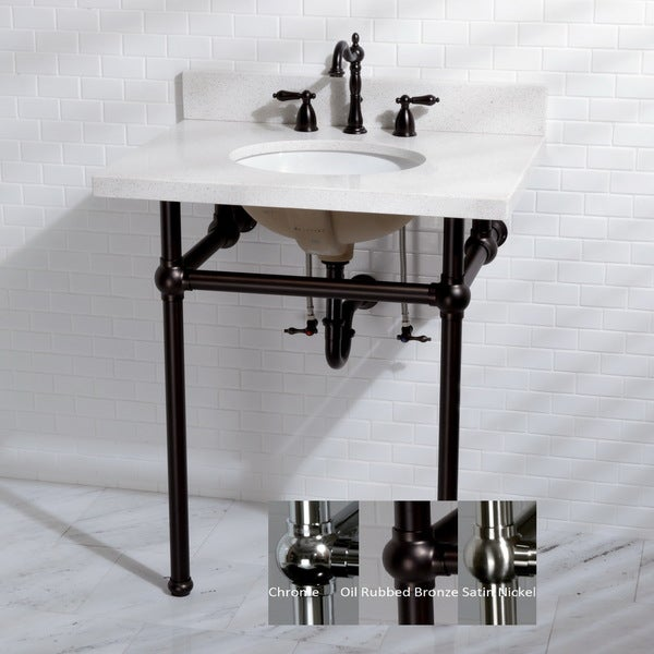 White Quartz 30 Inch Wall Mount Pedestal Bathroom Sink Vanity With Metal  Stand