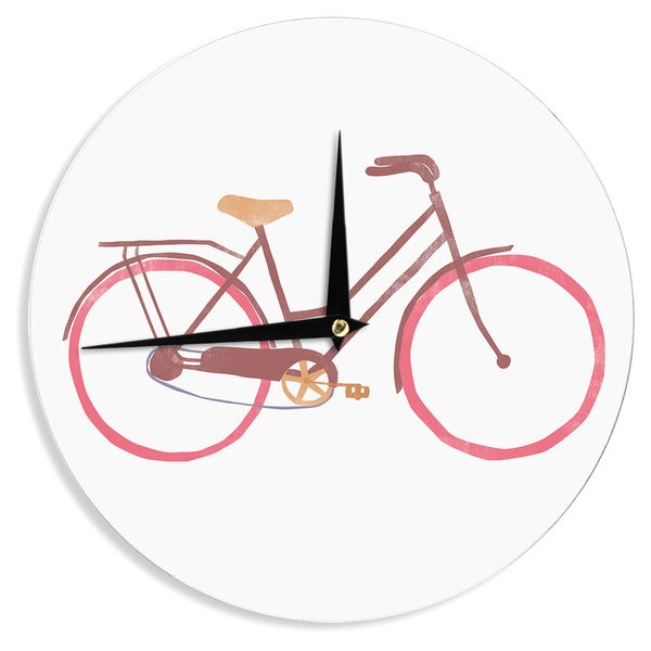 "Kess InHouse Alik Arzoumanian ""Bike"" White Pink Wall Clock 12"""