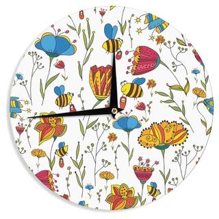 "Kess InHouse Alisa Drukman ""Bees"" Multicolor Wall Clock 12"""