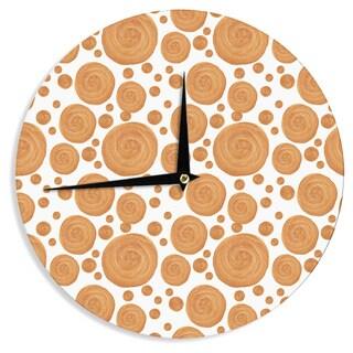 "Kess InHouse Alisa Drukman ""Gold Pattern"" Orange Geometric Wall Clock 12"""