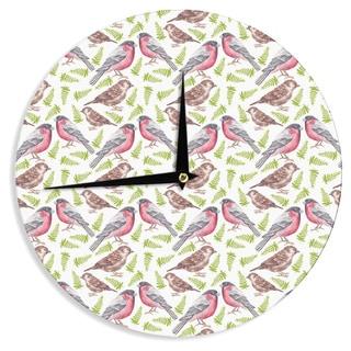 "Kess InHouse Alisa Drukman ""Sparrow And Bullfinch"" Pink Green Wall Clock 12"""