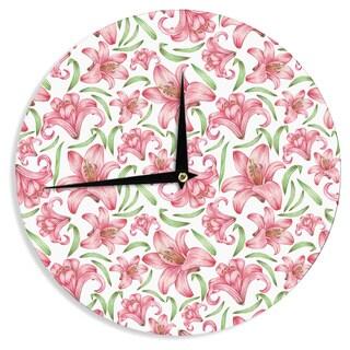 "Kess InHouse Alisa Drukman ""Lily Flowers"" Pink Nature Wall Clock 12"""
