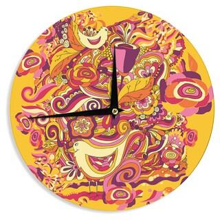 "Kess InHouse Alisa Drukman ""Utopia"" Orange Gold Wall Clock 12"""