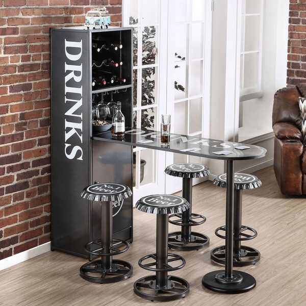Furniture Of America Brews Contemporary Metal Bar Table With Built In Wine Cabinet Free