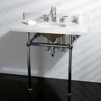 White Quartz 36-inch Wall-mount Pedestal Bathroom Sink Vanity with Metal Stand