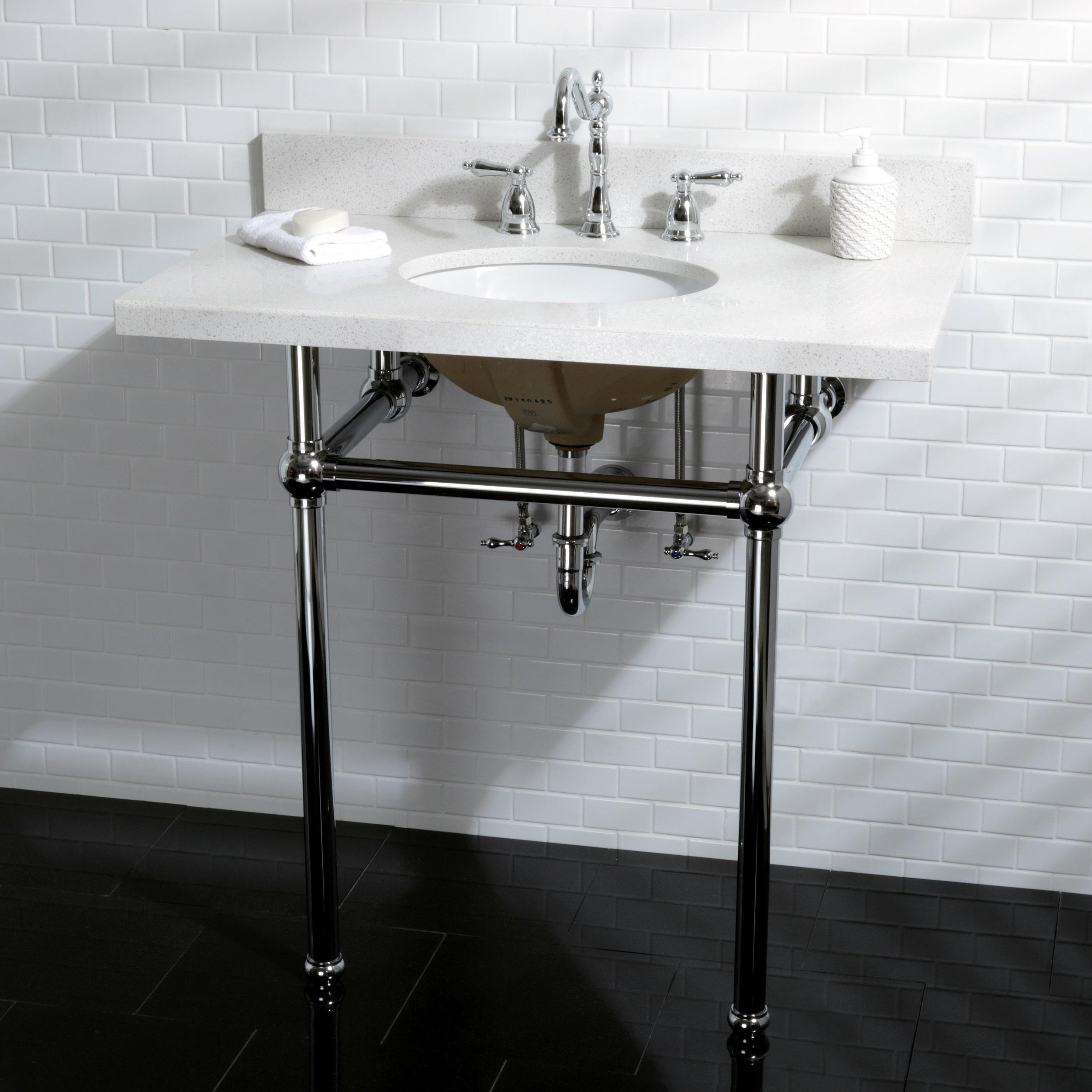 White Quartz 36-inch Wall-mount Pedestal Bathroom Sink