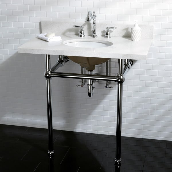 White Quartz 36 Inch Wall Mount Pedestal Bathroom Sink Vanity With Metal  Stand