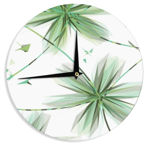 "Kess InHouse Alison Coxon ""Flower Teal"" Wall Clock 12"""