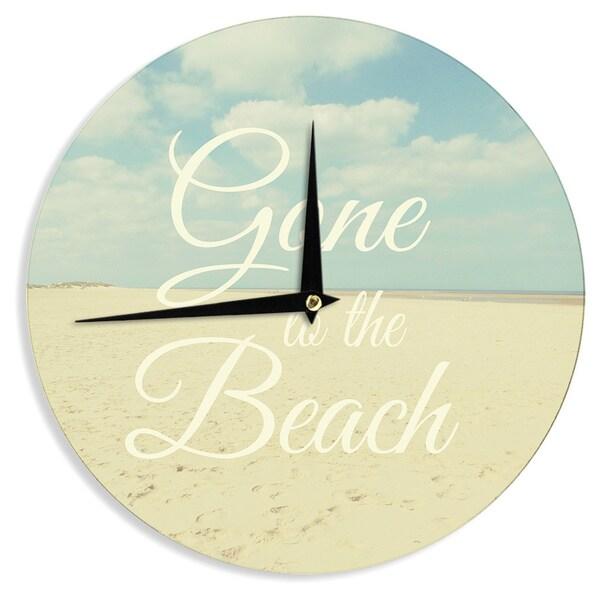"Kess InHouse Alison Coxon ""Gone To The Beach"" Tan Blue Wall Clock 12"""