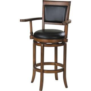 Chelsea Black PU and Oak Swivel Bar Chair