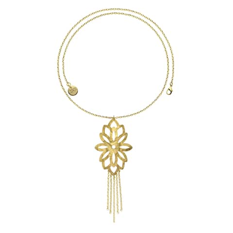 Isla Simone - 18 Karat Gold Electro Plated Large Blossom Long Chain Necklace