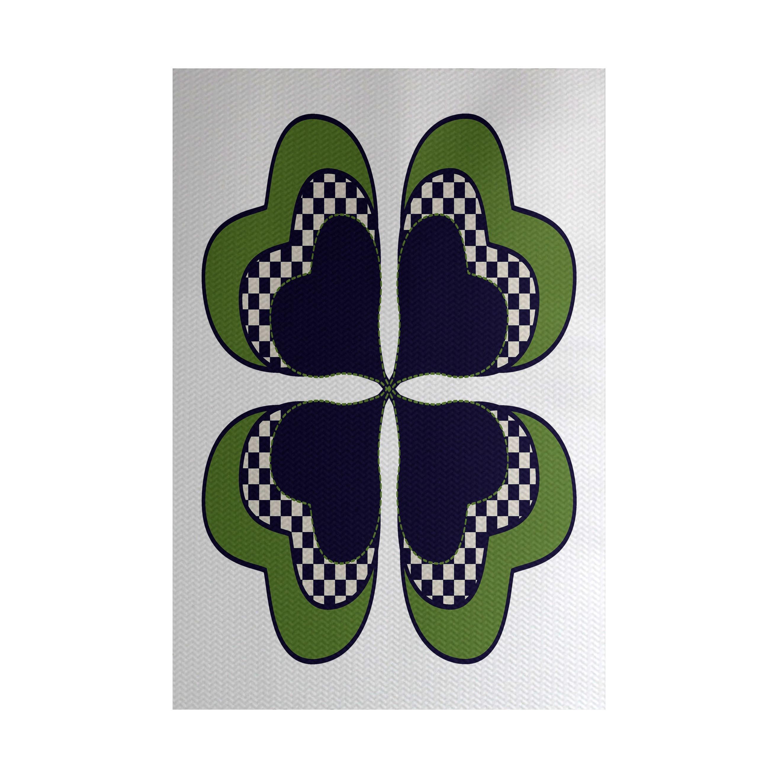 Four Leaf Clover Holiday Floral Print Indoor Outdoor Rug 2 X 3