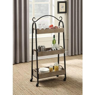 Convenience Concepts Wyoming Black and Brown Metal and Wood 3-tier Cart With Removable Trays