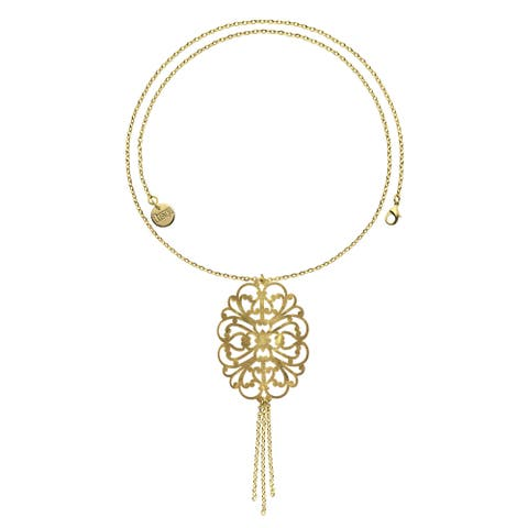 Isla Simone - 18 Karat Gold Electro Plated Large Filigree Long Chain Necklace