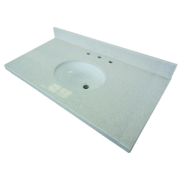 White Quartz 36 Inch Vanity Top With Undermount Sink