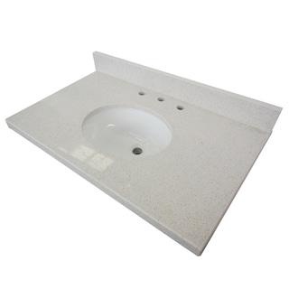 White Quartz 30 Inch Vanity Top With Undermount Sink