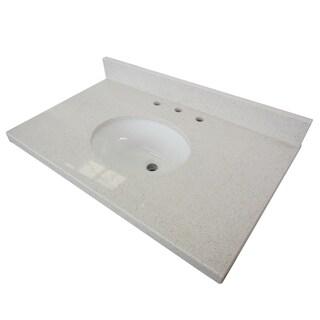 White Quartz 30-inch Vanity top with Undermount Sink