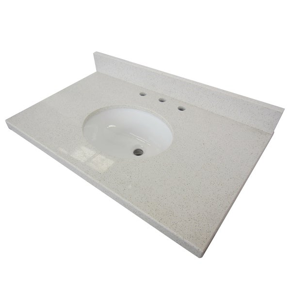 White Quartz 30 Inch Vanity Top With Undermount Sink