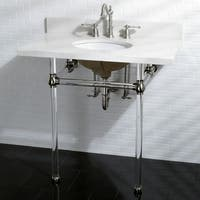 White Quartz 36-inch Wall-mount Pedestal Bathroom Sink Vanity with Acrylyic Stand