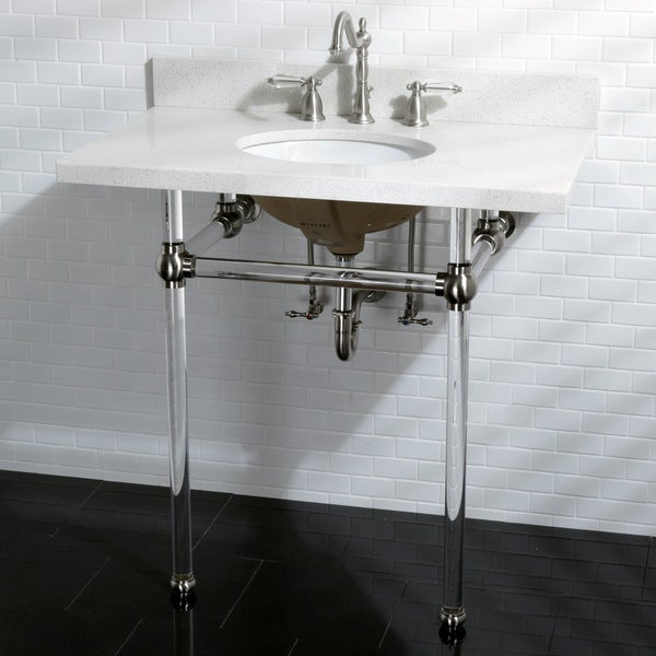 Pedestal Sink Wall Bracket : White Quartz 36-inch Wall-mount Pedestal Bathroom Sink Vanity with ...