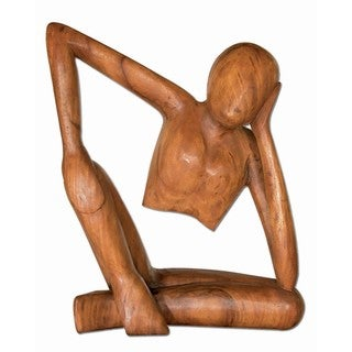WA-0061-L Handmade Acacia Wood Abstract Thinker (Thailand)