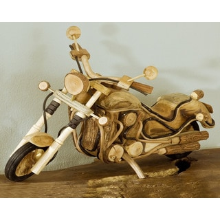 Handmade W-0774-35 Large Wood Motorcycle (Thailand)