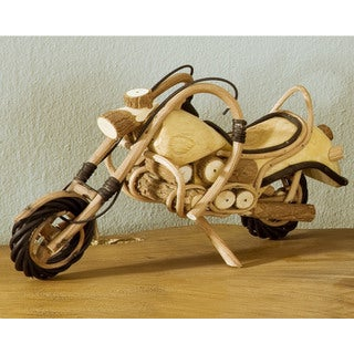 Handmade W-0774-12 Small Wood Motorcycle (Thailand)
