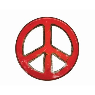 WA-0266-RE Ruby Groovy Barrel Art Peace Sign (Thailand)