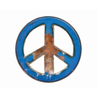 Handmade WA-0266-BU Cobalt Groovy Barrel Art Peace Sign (Thailand)