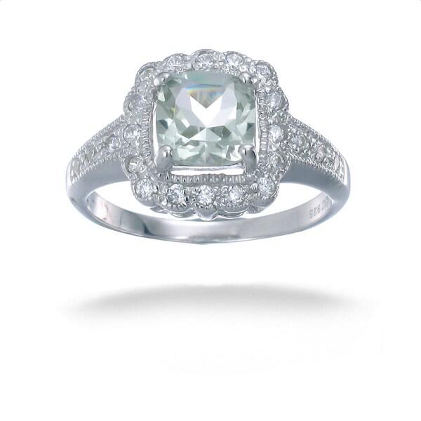 Vintage Sterling Silver Green Amethyst Halo Miligrain Ring