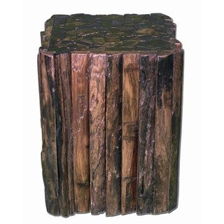 Groovystuff TF-0951 Matchstick Teak Wood Side End Table Stool