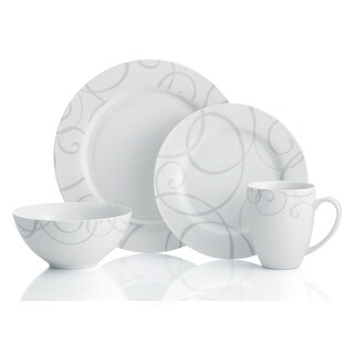 Oneida Symphony D121916R Grey/White Porcelain/Bone Mix 16-piece Dinnerware Set for 4