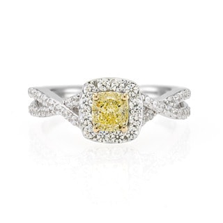 18k White Gold 1/2ct Fancy Yellow Cushion Diamond and 1/2CTtw White Diamond Side Stones Ring (G-H, SI1-SI2)