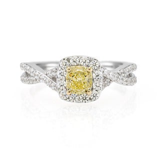 18k White Gold 1/2ct Fancy Yellow Cushion Diamond and 1/2CTtw White Diamond Side Stones Ring