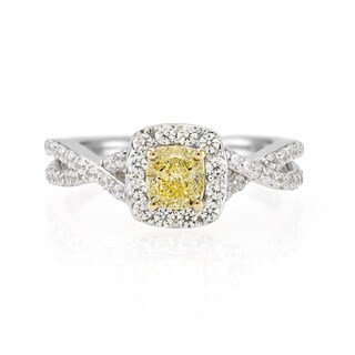 18k White Gold 1ct TDW 1/2ct Cushion-cut Yellow Diamond Center White Diamond Twisted Shank Halo Engagement Ring