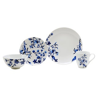 Oneida Tranquility Blue/White Porcelain Service for 4 Dinnerware Set (Case of 16)